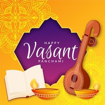 Vasant panchami in flat design
