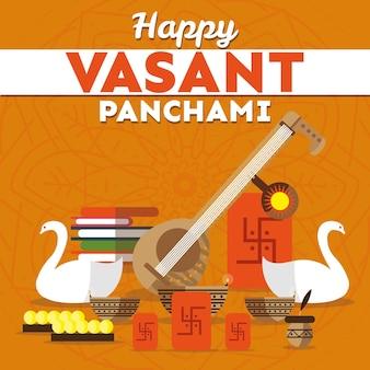 Vasant panchami in design piatto