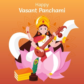 Vasant panchami illustration with saraswati goddess and veena Free Vector
