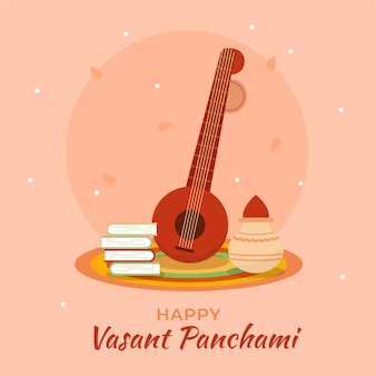 Veena 악기와 vasant panchami 그림 무료 벡터