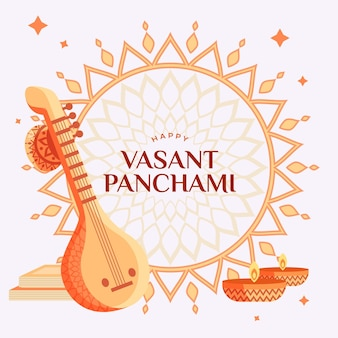 Vasant panchami illustration with veena
