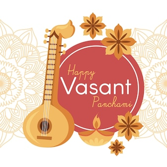 Vasant panchami musical instrument and autumn flowers