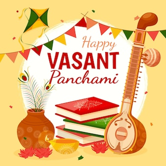 Vasant panchami musical instrument and books Free Vector