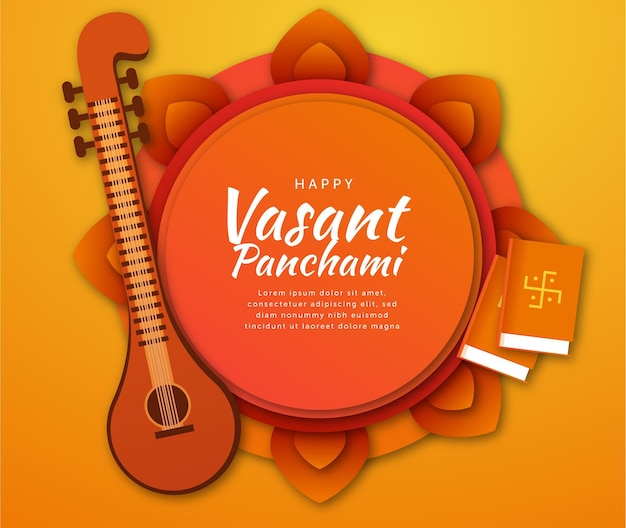 Vasant panchami musical instrument and books