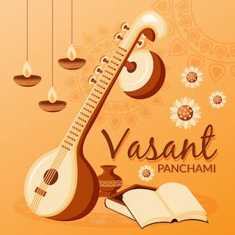 Vasant panchami musical instrument and candles