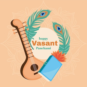 Vasant panchami musical instrument and feathers
