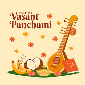 Vasant panchami musical instrument flat design