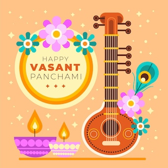 Vasant panchami musical instrument and flowers
