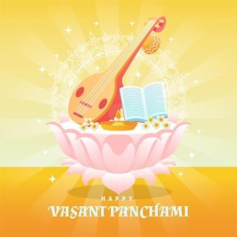 Vasant panchami musical instrument and sun rays Free Vector