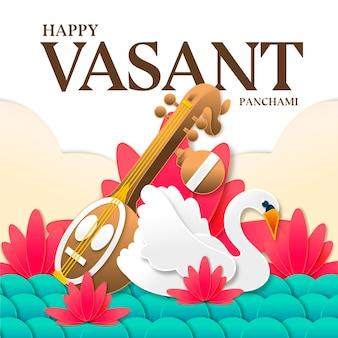 Vasant panchami musical instrument and swan