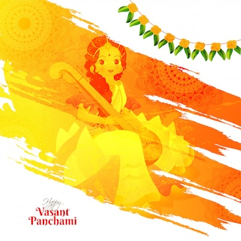 Vasant panchami poster or greeting card design with beautiful ch