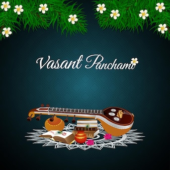 Vasant panchami with saraswati veena and books