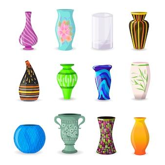 Ваза декоративная керамическая кастрюля и декор современная керамика элегантность вазы набор иллюстраций классической красивой стеклянной банке на белом фоне