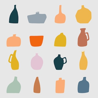 Vase element collection in flat design