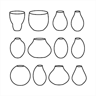 Vase icons set. line of vases