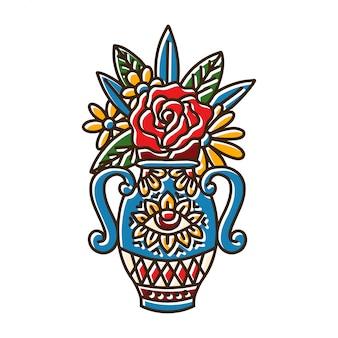Vase with eye symbols and rose