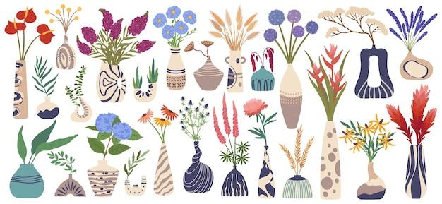 セラミック花瓶の花の植物と花瓶インテリアセットの花束とモダンな陶器 Premiumベクター