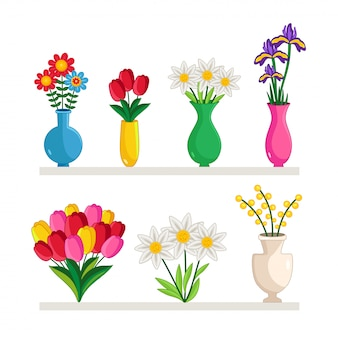 Vases of flowers set
