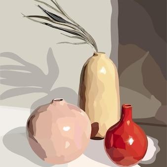 装飾的な植物が付いている花瓶。ベクトルファッションイラスト