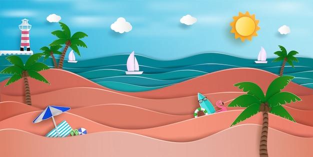 夏の広大な海の景色そして自然の美しさ