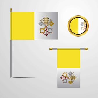 Vatican City Holy See waving Flag design with badge vector