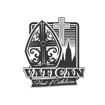 바티칸 아이콘, 교황 티아라, 가톨릭 십자가, 고대 건물 봉우리 실루엣. 십자가와 기독교 종교 벡터 상징, 흰색 배경에 고립 된 천주교 기독교 상징의 심장