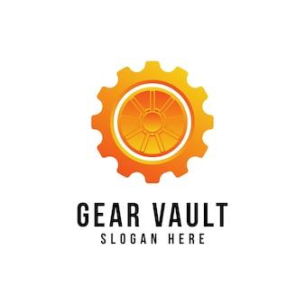 Vault 로고 및 Machine Cog Gear Wheel Factory 로고 디자인 프리미엄 벡터