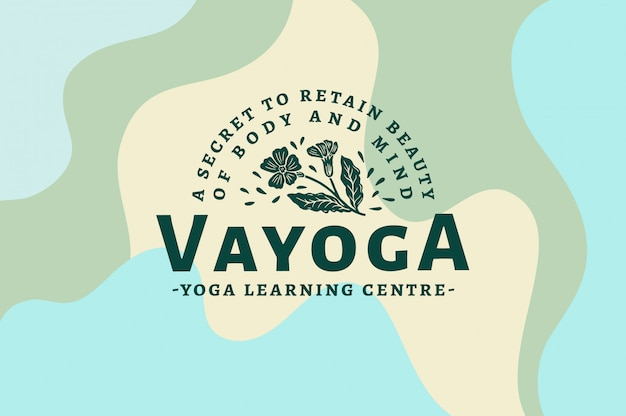Vayoga - yoga learning centre logo template fully editable text, color and outline