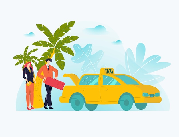 Vcation couple rest, tour hot trip, palm sea season, tropical island tourism, ,    illustration. caricature happy people departing furlough, tropicl isle, travel concept.