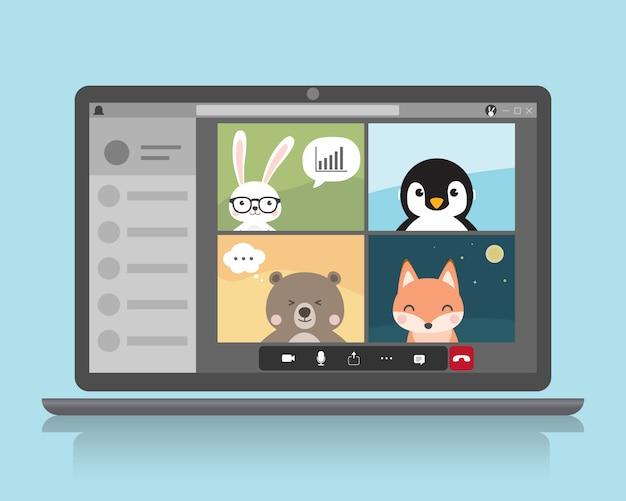 動物キャラクターのビデオ会議通話。ホームコンセプトから作業します。オンラインvdo通話会議会議で働くビジネス。