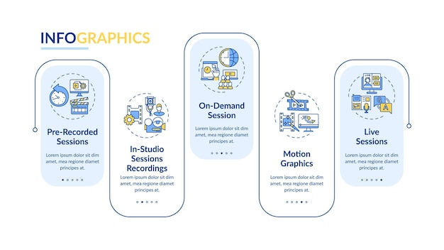 Ve content infographic template. recorded, on-demand sessions presentation design elements.