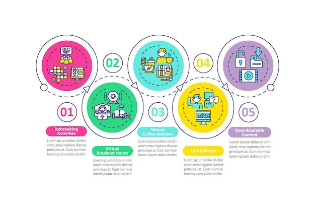 Ve success tips infographic template. icebreaking activities, pollings presentation design elements.