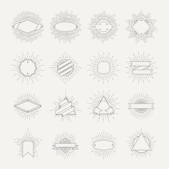 切手とバッジのコレクション。さまざまな形とサンバーストフレーム。ビンテージモノクロバナーとve