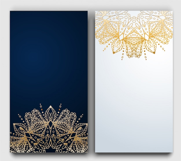 Vec golden circle ornament on dark and white gradient card