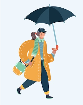Vecetor illustration of cute  girl walking in the rain with umbrella cloud and puddle