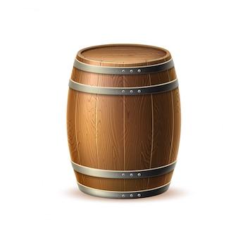Vecotリアルな木製樽、伝統的な醸造所用のオーク樽