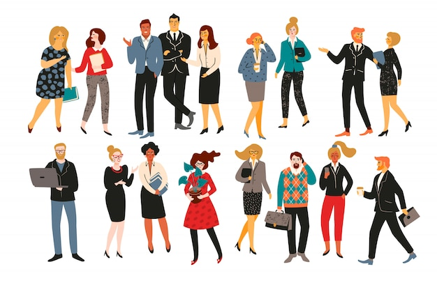 Vectior illustration of office people, businessmen, managers.