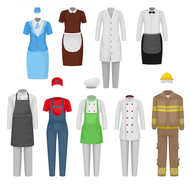 직원 의류의 vectoe 세트입니다. 식당 노동자, 하녀, 스튜어디스, 소방관의 옷. 남성 및 여성 의류