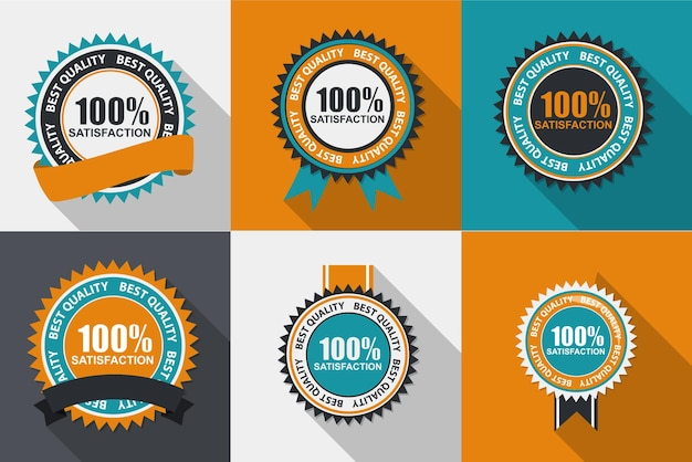 벡터 100 만족 품질 레이블은 긴 그림자가 있는 평면 현대적인 디자인으로 설정됩니다. 벡터 일러스트 레이 션 eps10