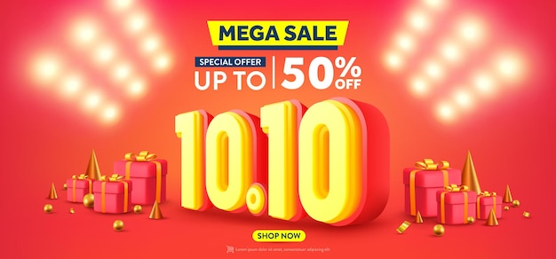Vector of 1010 shopping day poster or banner with gift box and spotlight background