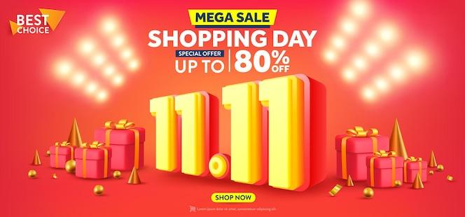 Vettore di 1111 shopping day poster o banner con confezione regalo e sfondo riflettori