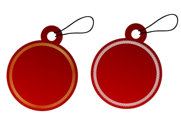 Vector 2 circle vector red gradient tag, white and golden china style border with black rope, isolated on white