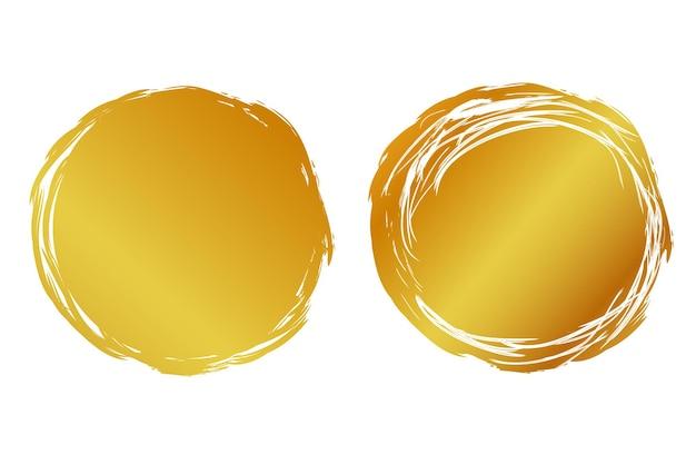 Вектор 2 рука рисовать полосу эскиз золотой круг кадр для вашего элемента дизайна, изолированные на белом