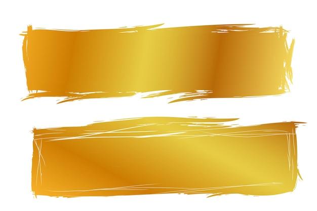 Вектор 2 рука рисовать полосу эскиз золотой прямоугольник кадр для вашего элемента дизайна, изолированные на белом