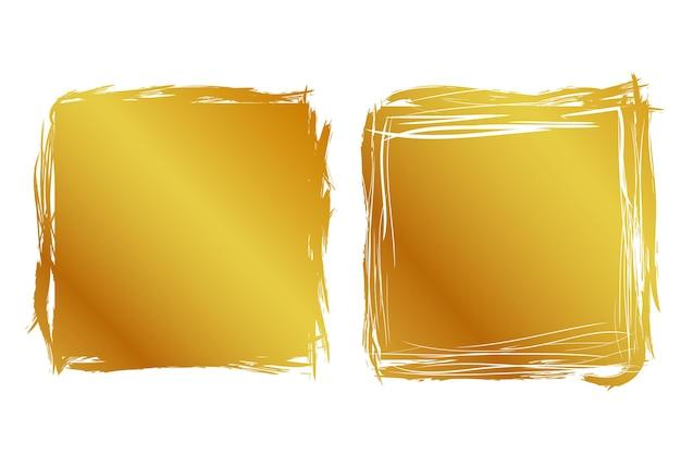 Вектор 2 рука рисовать полосу эскиз золотая квадратная рамка для вашего элемента дизайна, изолированные на белом