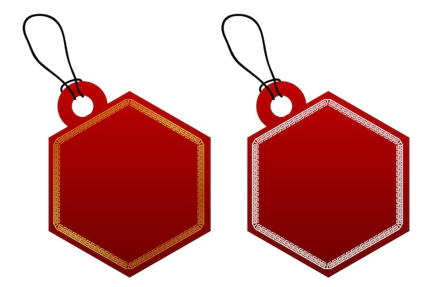 Vector 2 hexagon vector red gradient tag, white and golden china style border with black rope, isolated on white