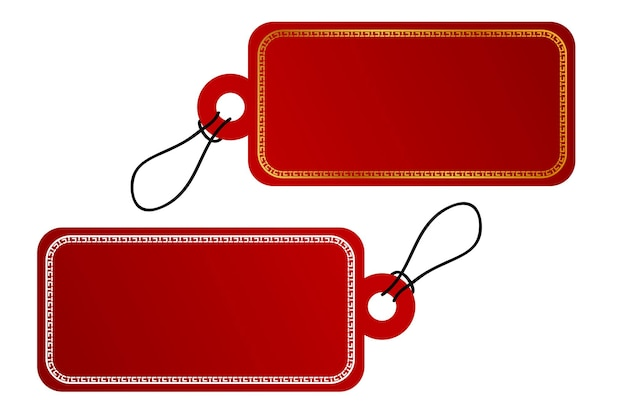 Vector 2 rectangle vector red gradient tag, white china style border with black rope, isolated on white