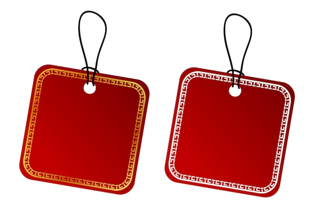 Vector 2 square vector red gradient tag, white and golden china style border with black rope, isolated on white