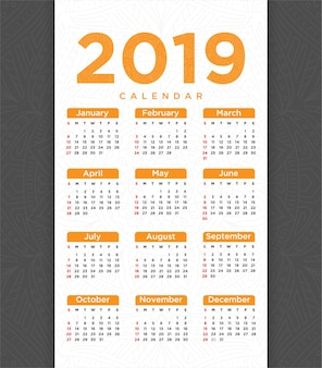 Vector of 2018 new year calendar template design