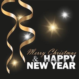 Вектор 2019 новый год и счастливого рождества черный фон с конфетти блеск и золотой ручей для завивки. праздничный премиум дизайн-шаблон для праздничной открытки, приглашения, календаря, плаката, баннера